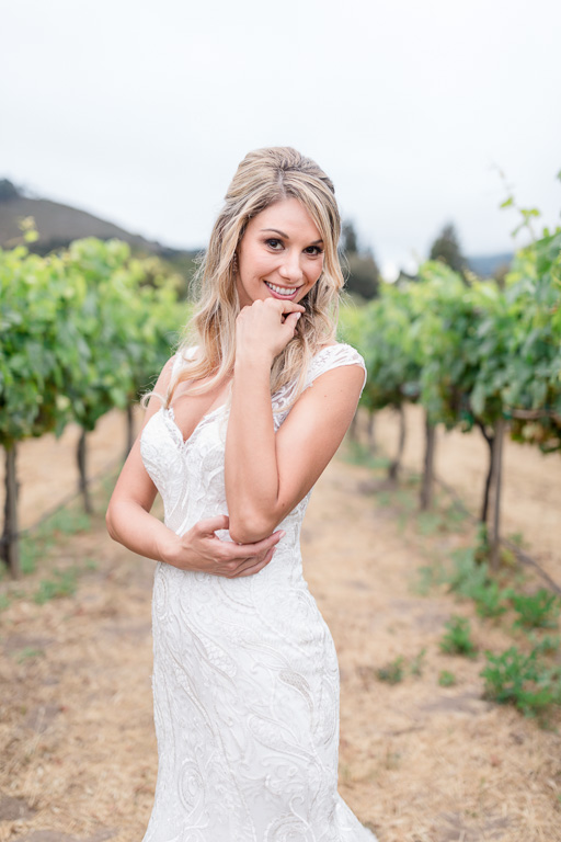 beautiful photo of the bride inside the Folktale vineyards