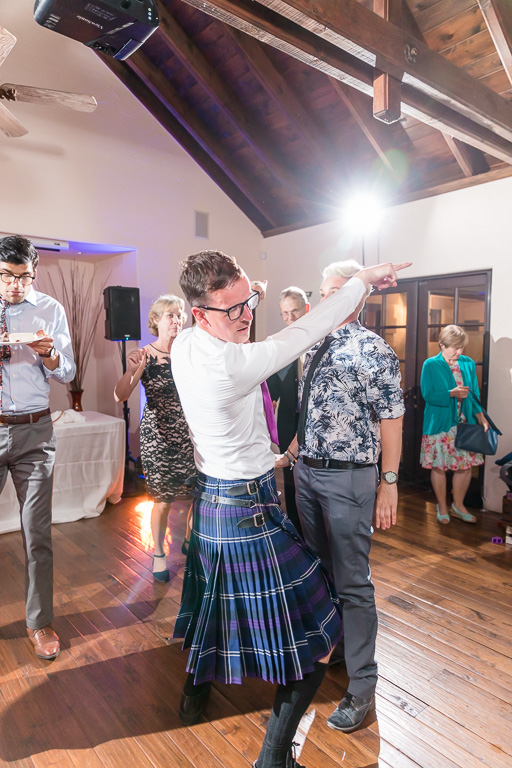 wedding guests in a kilt owning the dance floor