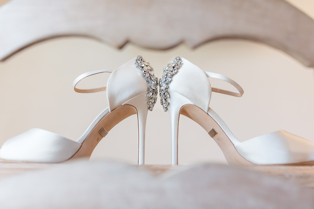 artsy shot of the bridal shoes
