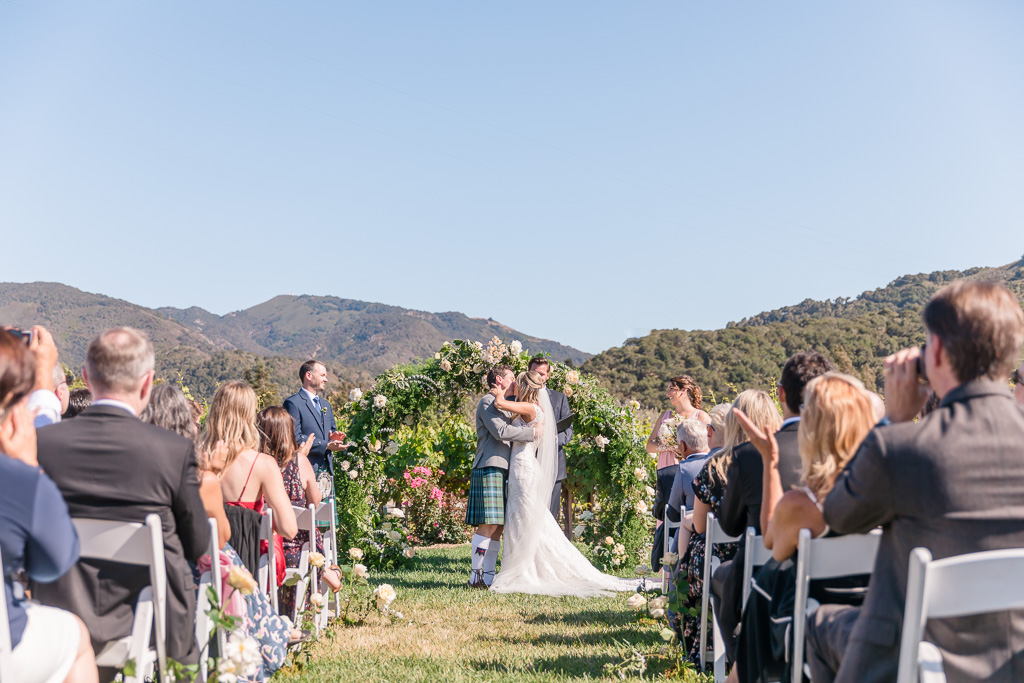 Folktale Winery wedding ceremony surrounded by mountains