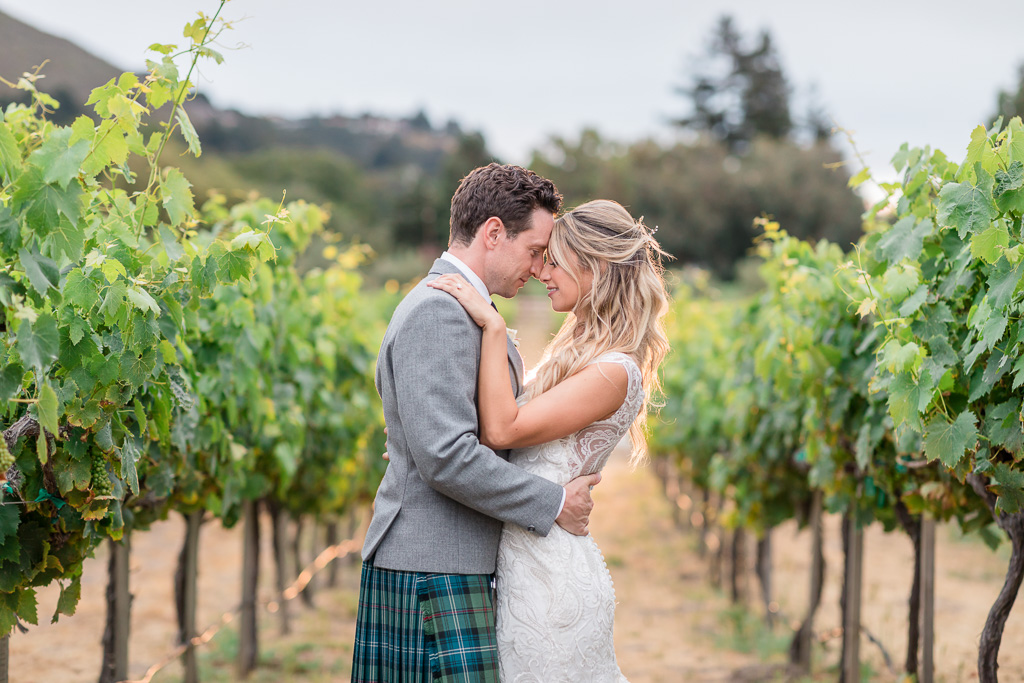 Folktale Winery sunset wedding photo in the vineyards