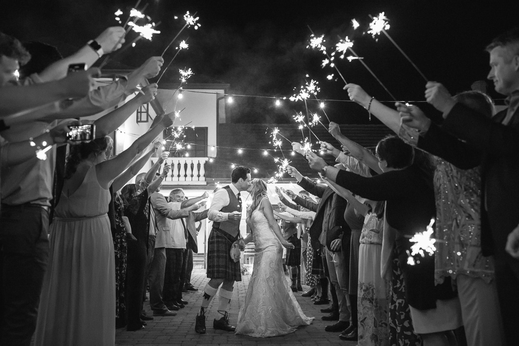 romantic sparkler send-off at Folktale Winery and Vineyards