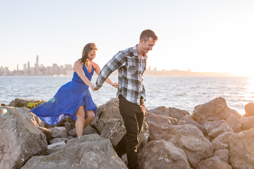 Treasure Island waterfront engagement photo