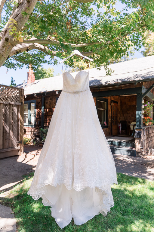 wedding gown hanging on a tree
