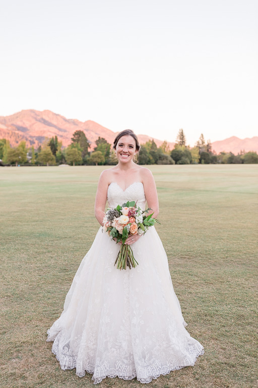 beautiful bride with the Santa Rosa mountains at sunset