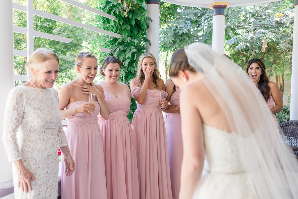 bride did a surprise first look with her bridesmaids