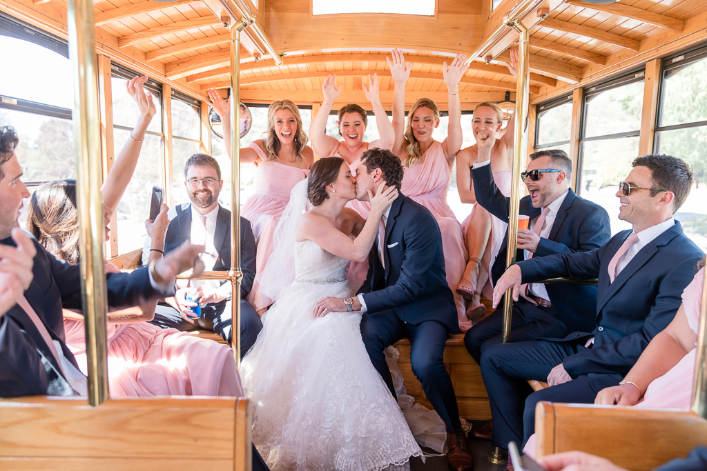 Rosie the trolley awesome wedding transportation for the bridal party