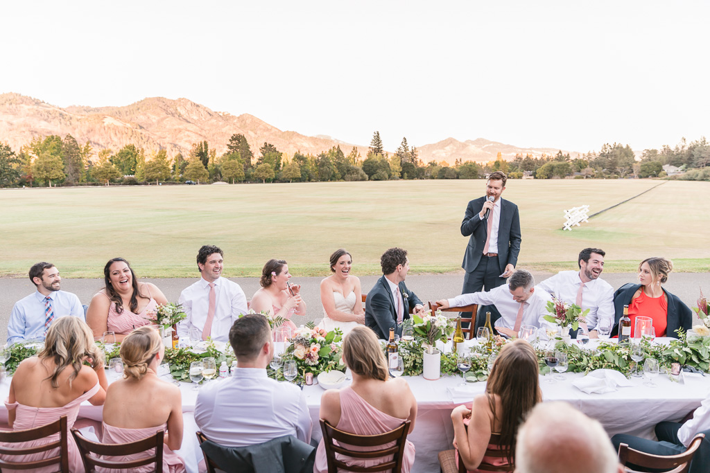 Wild Oak Saddle Club wedding reception with rolling hills in the background