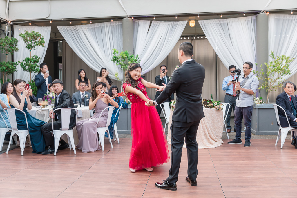 couple's playful first dance