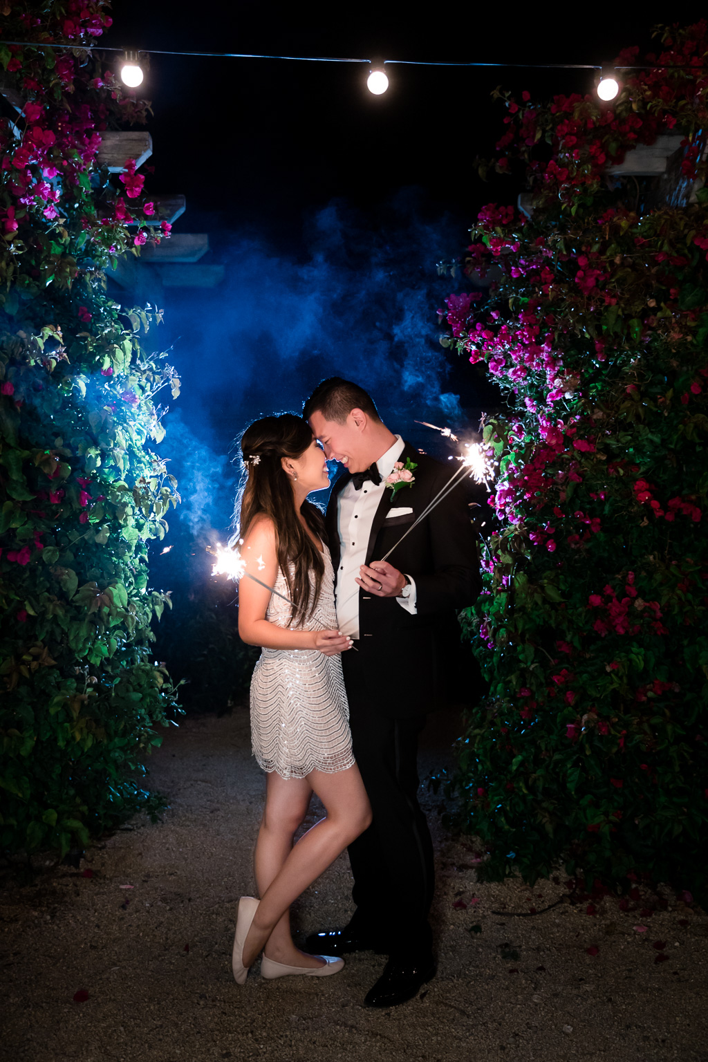 newlywed night photo with wedding sparklers