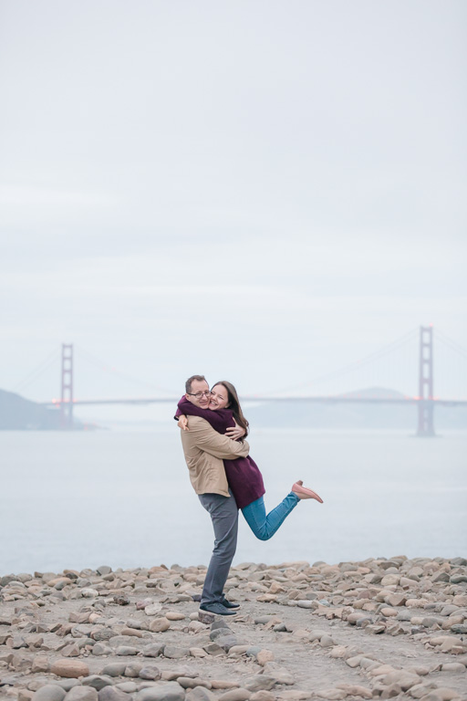they got engaged in front of the stone maze and golden gate bridge