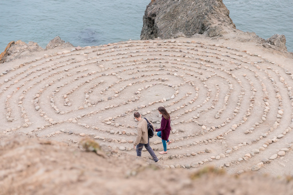 walking around the labyrinth to their spot