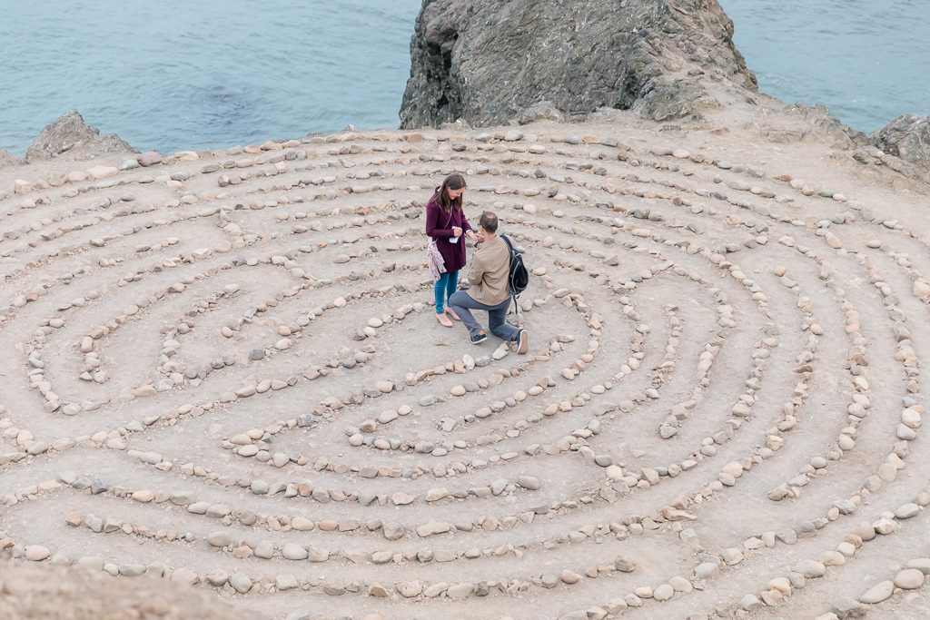 Lands End stone labyrinth marriage proposal
