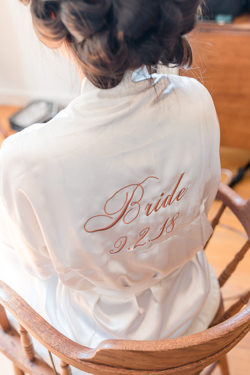 custom embroidered bride getting ready gown with wedding date embroidery