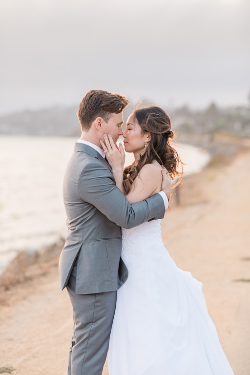 sunset wedding photos Tiburon shoreline
