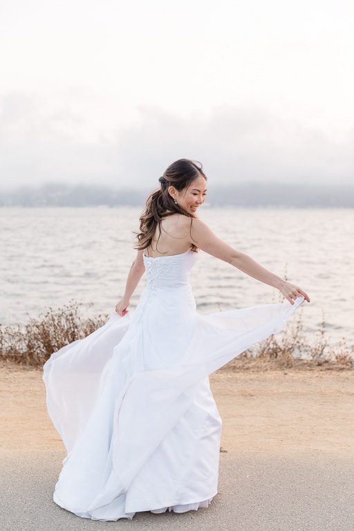 bridal solo portrait on the shoreline