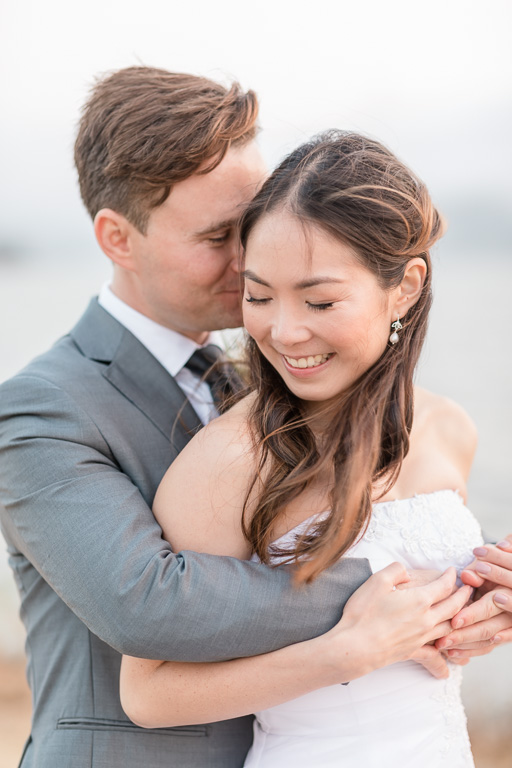 close-up intimate Tiburon wedding photo with clean background