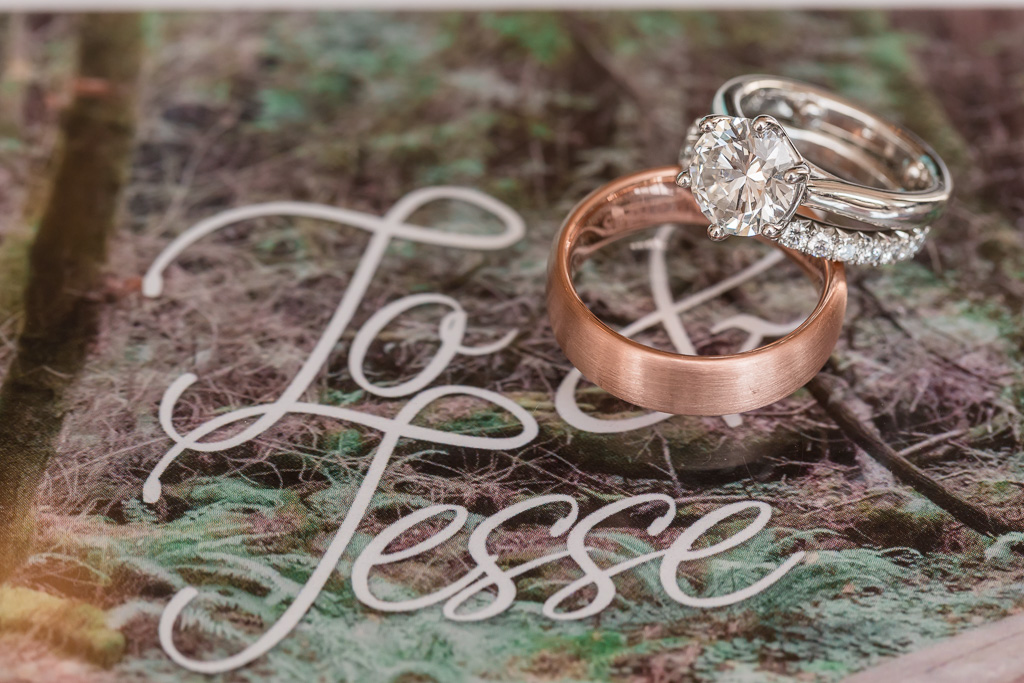 wedding ring photos on custom invitation