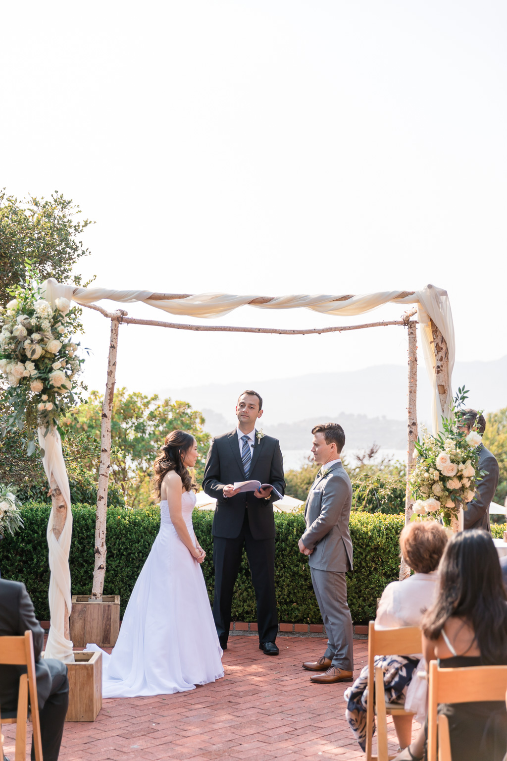 wedding ceremony at Landmarks Art & Garden Center in Tiburon