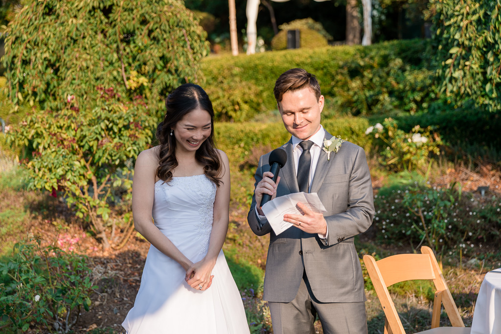 bride and groom giving thank you toast