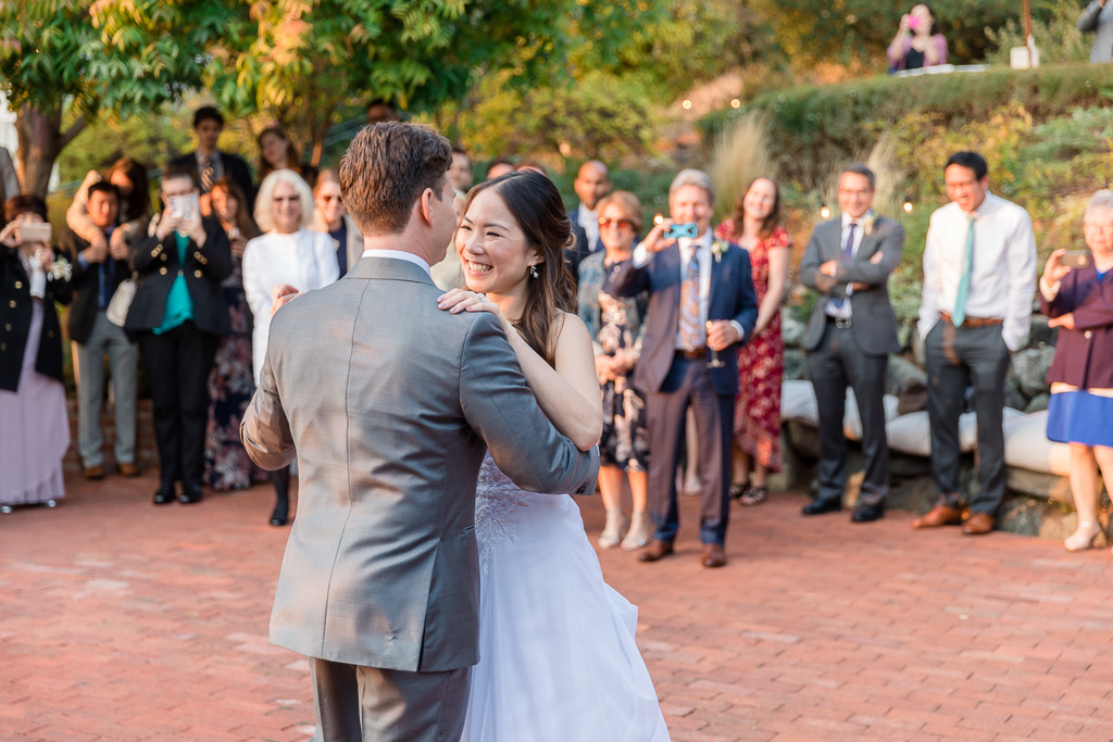 bride and groom first dance at Tiburon Landmarks Art & Garden Center