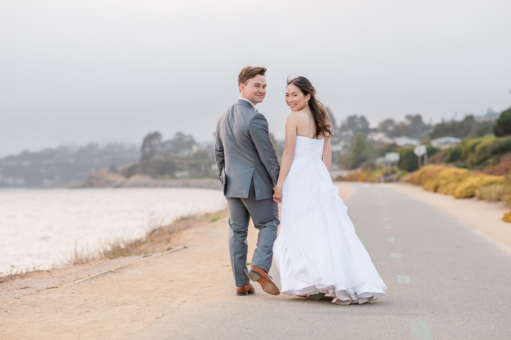 wedding day portrait along Tiburon San Francisco Bay shoreline