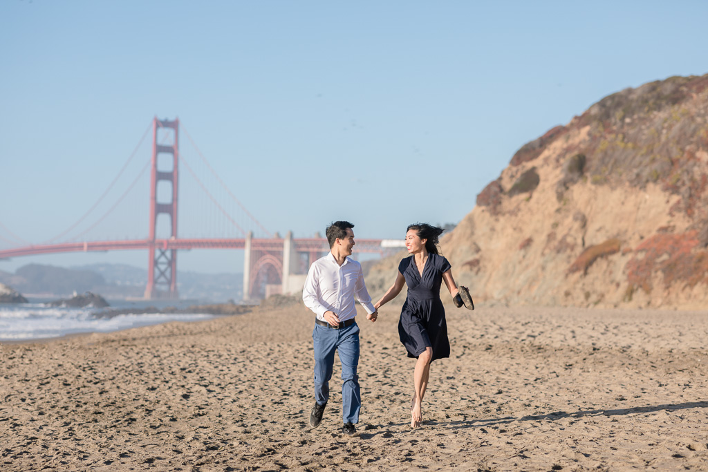 Baker Beach running fun engagement picture