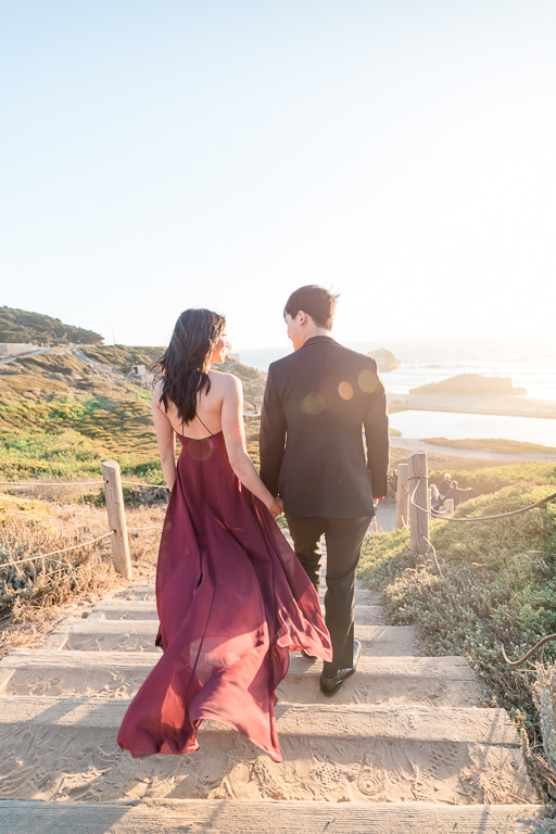Land's End engagement photos long dress