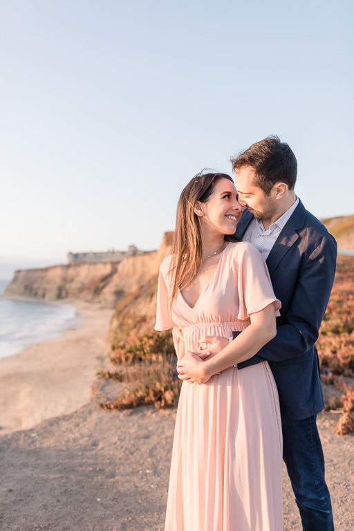 couple engagement portrait in Half Moon Bay at the Coastal Trail