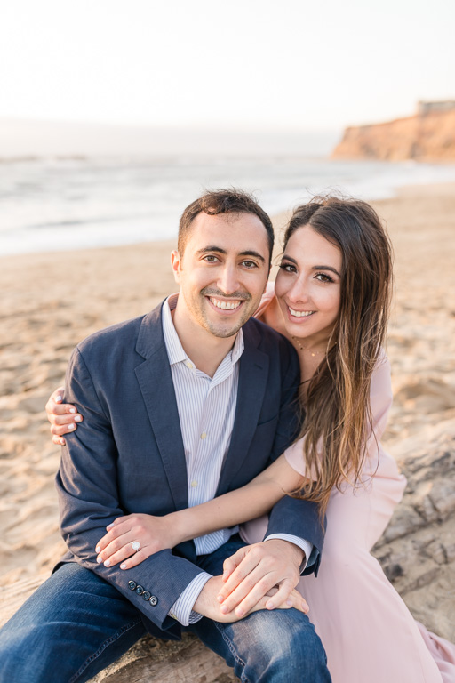 Half Moon Bay beach engagement portrait