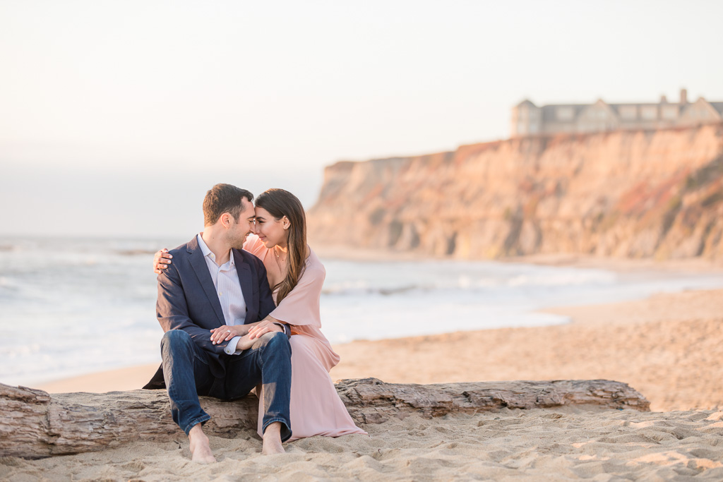 sunset beach engagement photo at Half Moon Bay Ritz-Carlton Hotel