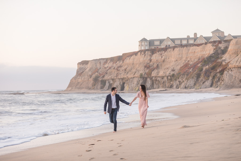 Half Moon Bay Ritz-Carlton beach engagement photo