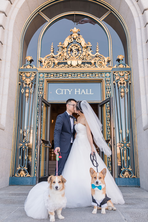 kissing at the front door of San Francisco City Hall
