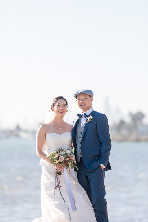 bride and groom portrait at Crown Memorial State Beach