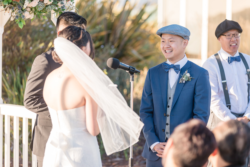 groom having a happy moment during wedding ceremony