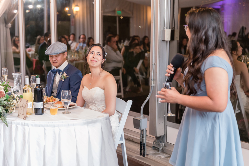 maid of honor giving a touching toast