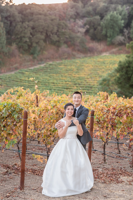 Thomas Fogarty Winery wedding portrait at the vineyards