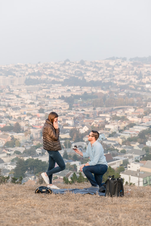 San Francisco surprise proposal on a hill overlooking the city
