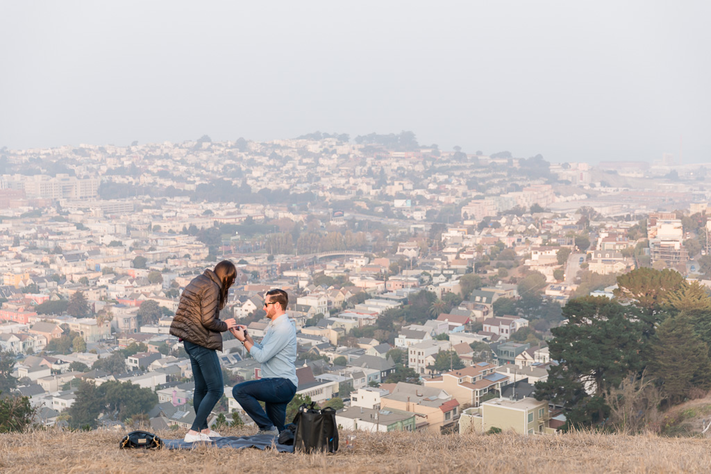 San Francisco city skyline surprise proposal