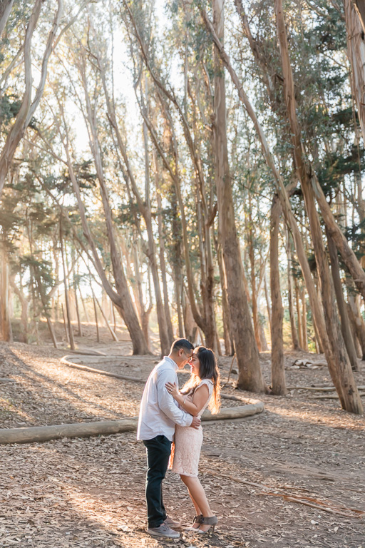 perfect lighting engagement photos at Lovers Lane