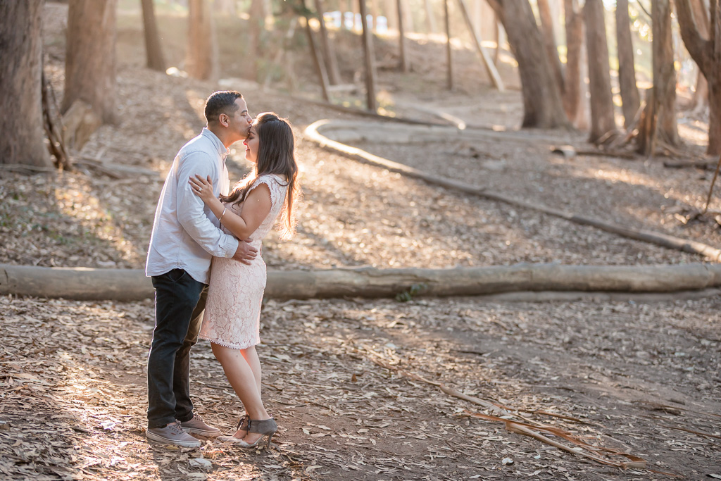 Lovers Lane golden lighting engagement picture
