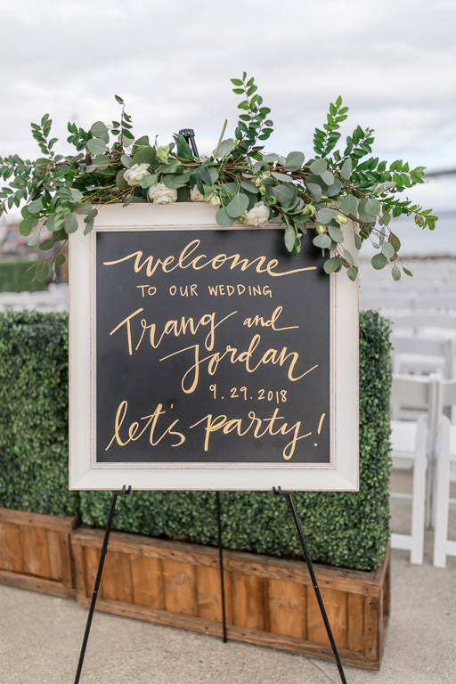 wedding welcome sign with floral decor