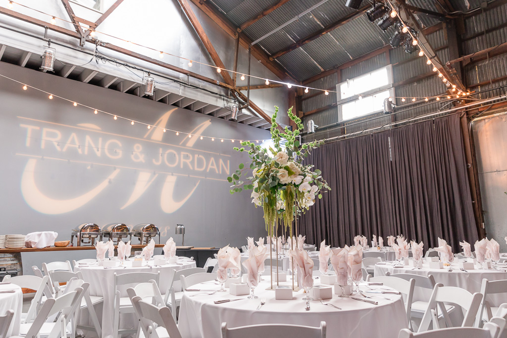 The Winery SF wedding wall projection lighting for bride and grooms names