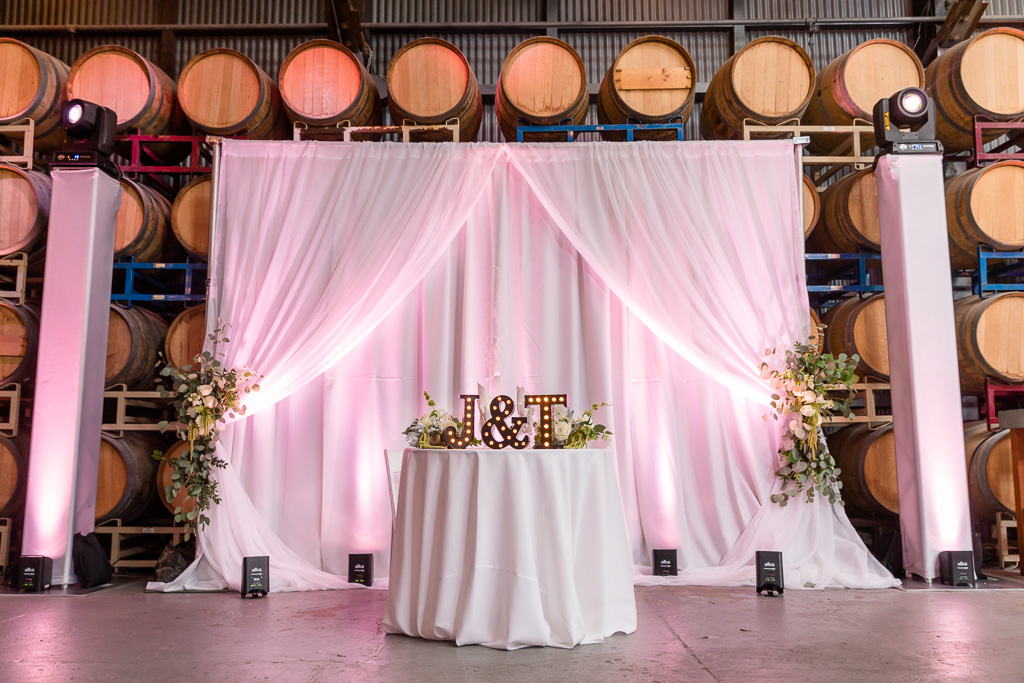 sweetheart table with lighted bride and groom initials at The Winery SF