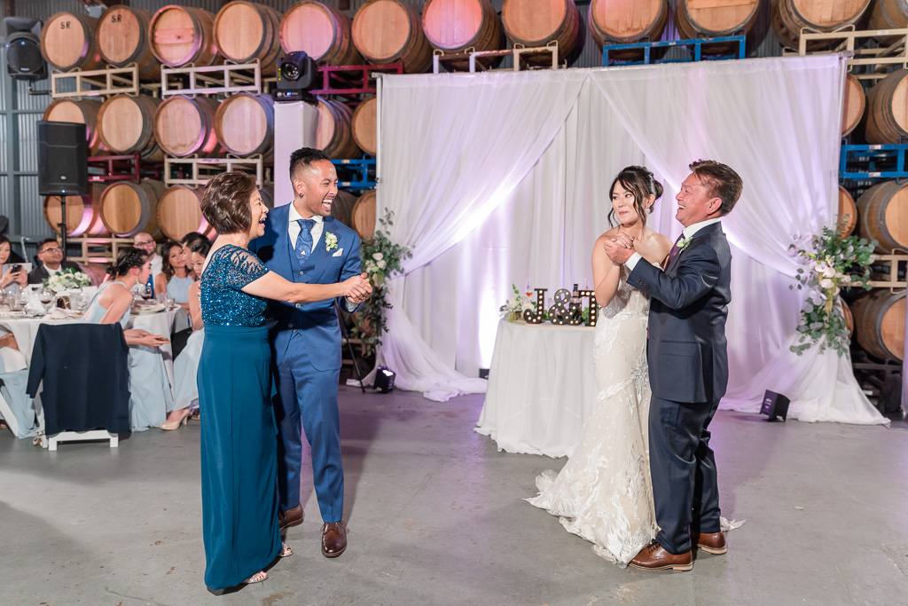 father-daughter and mother-son combined dance at winery