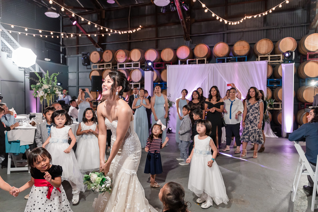 The Winery SF wedding bouquet toss
