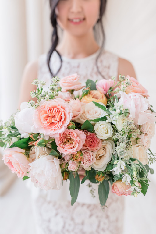 gorgeous soft and full bridal bouquet by Vo Floral Design