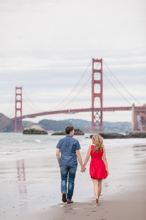 candid San Francisco beach engagement picture