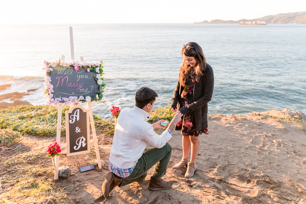 surprise marriage engagement on Marshall's beach
