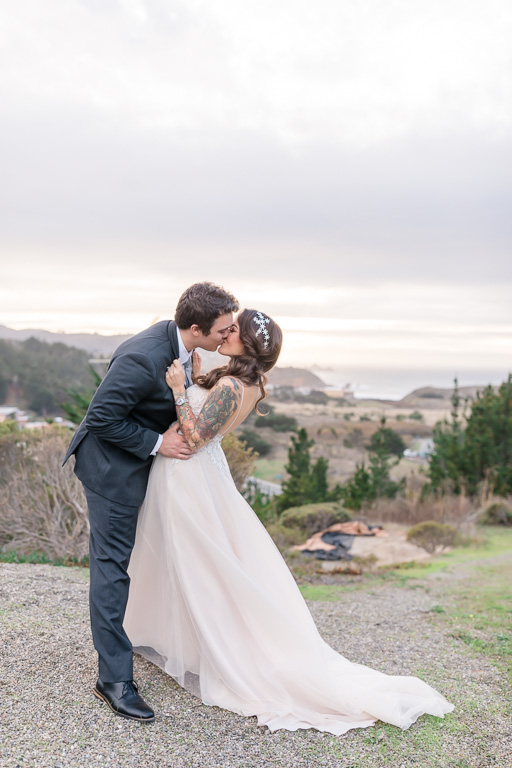 dip and kiss wedding photo in Pacifica California